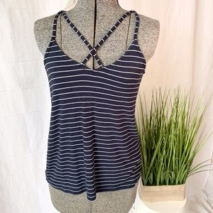 Hollister Ribbed Tank Top Blue Stripped Small